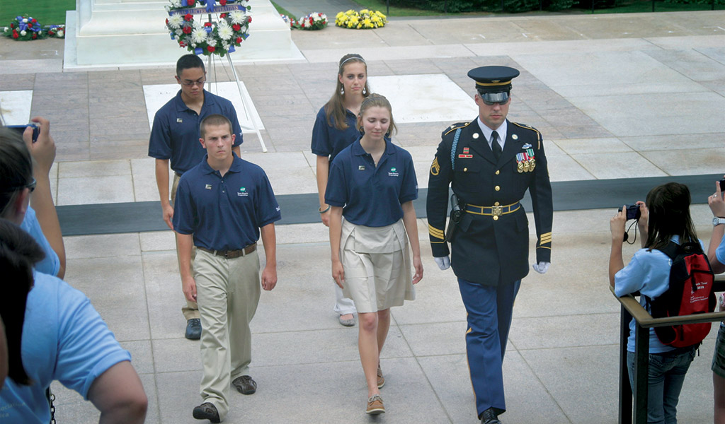 Youth Tour participants take part in a wreath-laying ceremony at the Tomb of the Unknown Soldier
