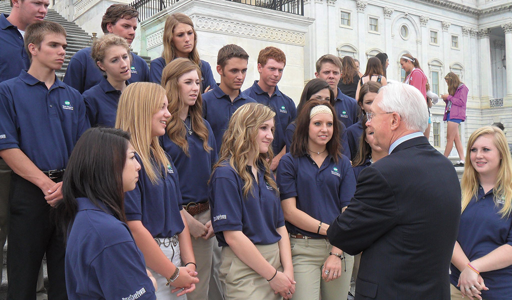 Youth Tour participants meet with a U.S. Representative