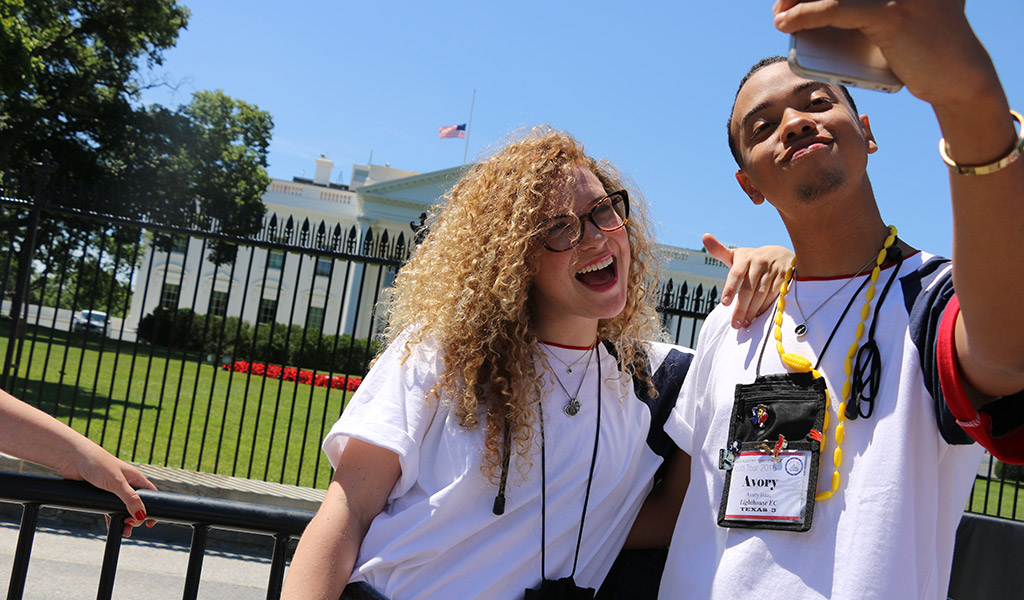 Youth Tour participants take a selfie in front of the White House