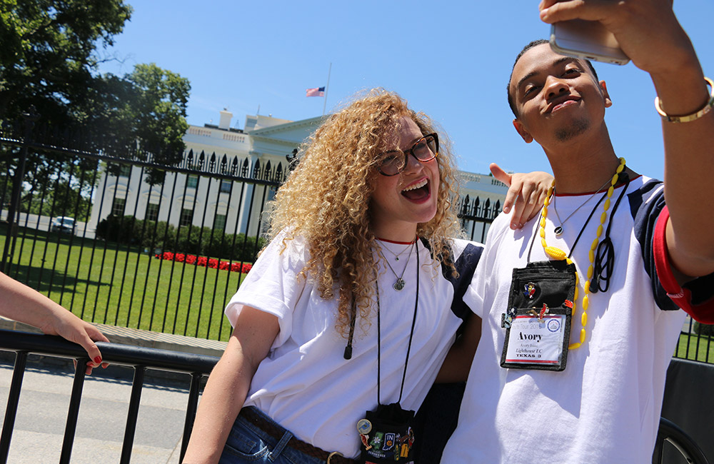 Youth Tour participants taking selfie in front of White House